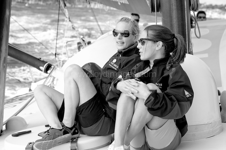 10th August 2011. Cowes. Isle of Wight..Pictures showing Zara Phillips and Natalie Pinkham onboard Artemis Ocean Racing, skippered by record-breaking yachtswoman Dee Caffari...The Artemis Challenge round the Island race...Aberdeen Asset Management Cowes Week 2011...Credit: Lloyd Images.
