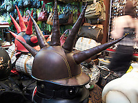 Mad Max style motorcycle helmets. In a shop in Kuta, Bali, Indonesia.<br />