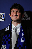 San Jose Earthquakes draft pick Andrew Hoxie during the MLS SuperDraft at the Pennsylvania Convention Center in Philadelphia, PA, on January 14, 2010.