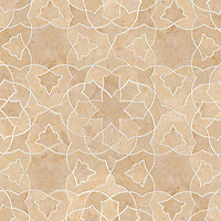 Alcala, a natural stone waterjet mosaic shown in Jerusalem Gold honed, is part of the Miraflores Collection by Paul Schatz for New Ravenna Mosaics.