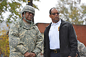 October 30, 2012  (Washington, DC)  Major General Errol Schwartz, Commanding General, D.C. National Guard, (left) with D.C. Fire Chief Kenneth Ellerbee touring Hurricane Sandy storm damage.  (Photo by Don Baxter/Media Images International)