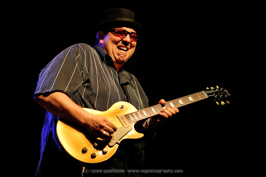 Blues guitarist Dan Dufour of the David Rotundo Band at the Montreal Jazz Festvival in Montreal, Canada on 2 July 2009.
