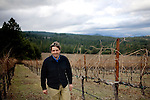Peter Molnar, partner of Tricycle Wine Company and Obsidian Ridge Vineyards, walls through the cabernet vineyard in the Red Hill appellation of Kelseyville, Ca. on Tuesday, Feb. 2, 2010.