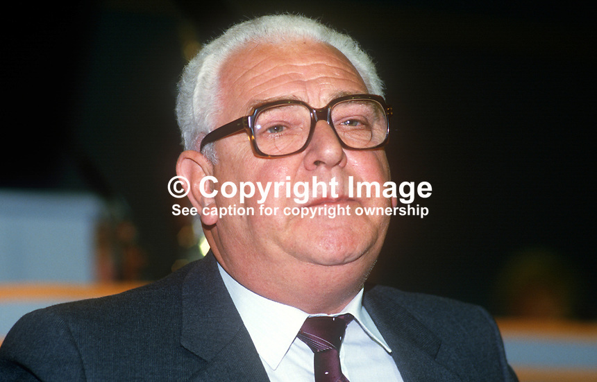 Alex Smyth, general secretary, Union of Tailors &amp; Garment Workers, UK, 19860903AS1<br /> <br /> Copyright Image from Victor Patterson, 54 Dorchester Park, Belfast, UK, BT9 6RJ<br /> <br /> Tel: +44 28 9066 1296<br /> Mob: +44 7802 353836<br /> Voicemail +44 20 8816 7153<br /> Skype: victorpattersonbelfast<br /> Email: victor@victorpatterson.com<br /> Email: victorpatterson@me.com (back-up)<br /> <br /> IMPORTANT: If you wish to use this image or any other of my images please go to www.victorpatterson.com and click on the Terms &amp; Conditions. Then contact me by email or phone with the reference number(s) of the image(s) concerned.