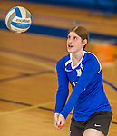 18 October 2015: Yeshiva University Maccabee Defensive Specialist and Outside Hitter Ilana Karp, a Sophomore from Fair Town, NJ, warms up prior to a game against the College of Mount Saint Vincent Dolphins at the Peter Sharp Center, in Riverdale, NY. The Dolphins defeated the Maccabees 3-0 in the NCAA Division III Women's Volleyball Skyline matchup. Mandatory Credit: Ed Wolfstein Photo *** RAW (NEF) Image File Available ***