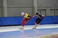 SCHAATSEN: SALT LAKE CITY: Utah Olympic Oval, 12-11-2013, Essent ISU World Cup, training, Bart Swings (BEL), Ewen Fernandez (FRA), ©foto Martin de Jong