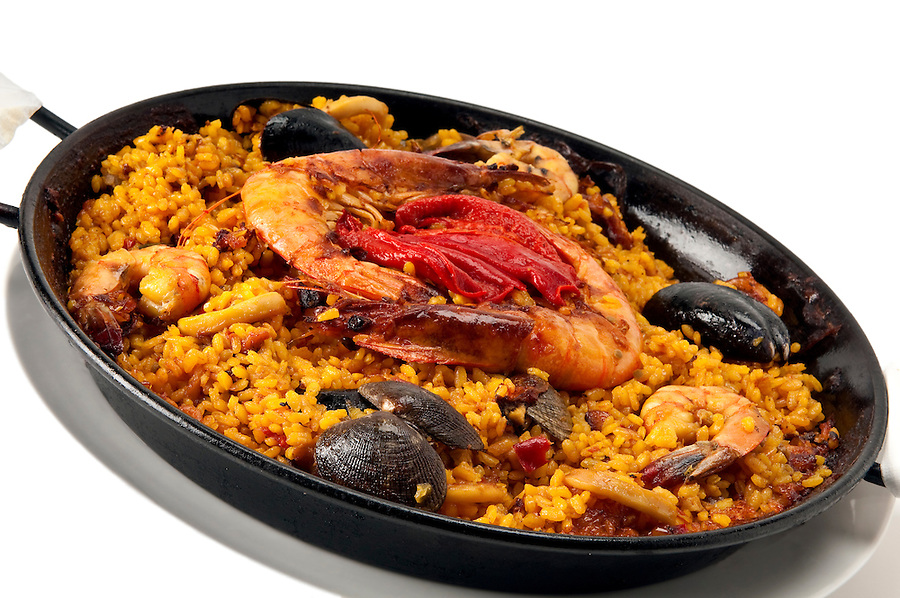 Tradition Seafood Spanish Paella in Pan, this is a typical spanish dish.