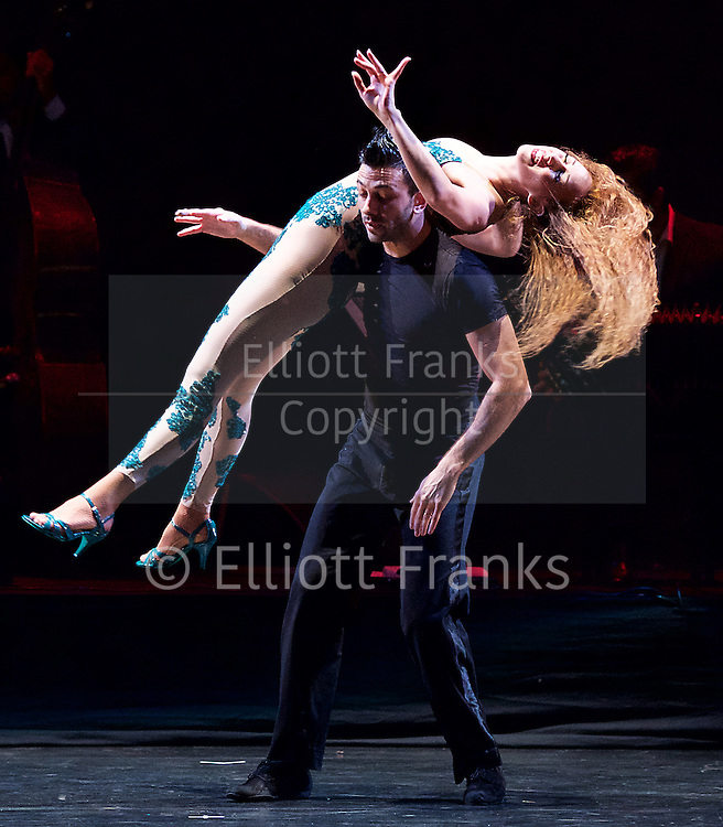 Tango Fire <br /> at The Peacock Theatre, London, Great Britain <br /> press photocall <br /> 30th January 2017 <br /> <br /> German Cornejo's Tango Fire<br /> <br /> <br /> <br /> <br /> Libertango <br /> <br /> Sebastian &amp; Victoria <br /> <br /> <br /> <br /> <br /> Photograph by Elliott Franks <br /> Image licensed to Elliott Franks Photography Services