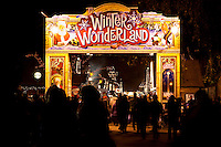 Crowd at Christmas market, Winter Wonderland, in Hyde Park, London