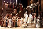 2006 - AIDA - Carl Tanner as Radames, Stefan Szkafarowski as King of Egypt, Milena Kitic as Amneris and Angela Brown as Aida in Act 2 Scene 2 of Opera Pacific's production of Aida.