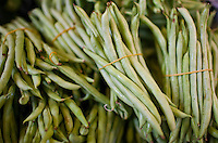 Green beans on sale in old Soho food market in Graham Street, Central Hong Kong, China