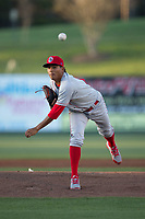 Lakewood BlueClaws starting pitcher Ranger Suarez (18) in action against the Kannapolis Intimidators at Kannapolis Intimidators Stadium on April 8, 2017 in Kannapolis, North Carolina.  The BlueClaws defeated the Intimidators 8-4 in 10 innings.  (Brian Westerholt/Four Seam Images)