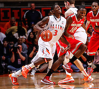 CHAMPAIGN, IL - JANUARY 05: Brandon Paul #3 of the Illinois Fighting Illini dribbles against Sam Thompson #12 of the Ohio State Buckeyes at Assembly Hall on January 5, 2013 in Champaign, Illinois. Ilinois defeated Ohio State 74-55. (Photo by Michael Hickey/Getty Images) *** Local Caption *** Brandon Paul; Sam Thompson