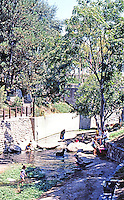 San Luis Obispo CA:  Mission Mall--1969. San Luis Obispo Creek. Richard Taylor.  Photo '85.