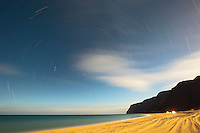Star trails over Polihale State Park on Kauai's west side