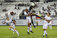 Orlando, FL - Saturday Jan. 21, 2017:   São Paulo defender Douglas (26) and Corinthians left back Moisés (6) battle for an air ball during the first half of the Florida Cup Championship match between São Paulo and Corinthians at Bright House Networks Stadium.