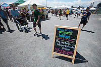 Foodies from around the city flock to opening day at the Smorgasburg in the Williamsburg neighborhood of Brooklyn in New York on Saturday, May 21, 2011. The new marketplace features a Greenmarket and prepared food made in Brooklyn by small entrepreneurs. The market is the creation of the operators of the wildly successful Brooklyn Flea. (© Richard B. Levine)