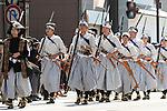 School children dressed as Byakko-tai soldiers take part in the Aizu Festval in Aizuwakamatsu City, Fukushima Prefecture, Japan.  Photographer: Rob Gilhooly