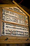 Photo shows one of the old-style programs outlining the evening's schedule and names of actors at the Korakukan theater, Japan's oldest extant wooden playhouse in Kosaka, Akita Prefecture Japan on 19 Dec. 2012. Photographer: Robert Gilhooly