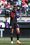 10 April 2016: Carli Lloyd (USA) reacts after missing a shot. The United States Women's National Team played the Colombia Women's National Team at Talen Energy Stadium in Chester, Pennsylvania in an women's international friendly soccer game. The U.S. won the match 3-0.