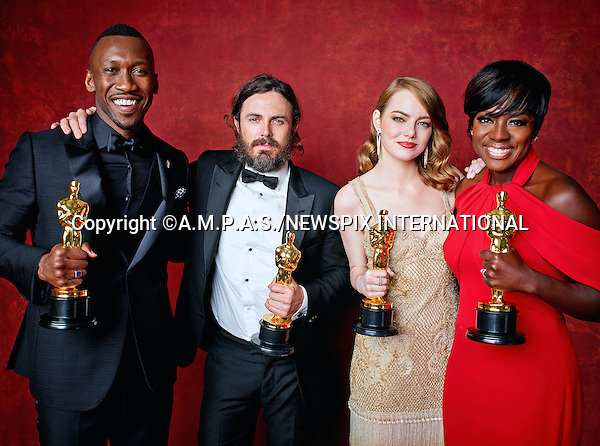 26.02.2017; Hollywood, USA: MAHERSHALA ALI, CASEY AFFLECK, VIOLA DAVIS AND EMMA STONE<br /> winners of the Best Supoorting, Actor in a Lead Role, Best Support Actress and Actress in a Lead Role awards at the 89th Oscars pose for a group photo at the Dolby&reg; Theatre in Hollywood.<br /> Mandatory Photo Credit: &copy;AMPAS/NEWSPIX INTERNATIONAL<br /> <br /> IMMEDIATE CONFIRMATION OF USAGE REQUIRED:<br /> Newspix International, 31 Chinnery Hill, Bishop's Stortford, ENGLAND CM23 3PS<br /> Tel:+441279 324672  ; Fax: +441279656877<br /> Mobile:  07775681153<br /> e-mail: info@newspixinternational.co.uk<br /> Usage Implies Acceptance of Our Terms &amp; Conditions<br /> Please refer to usage terms. All Fees Payable To Newspix International