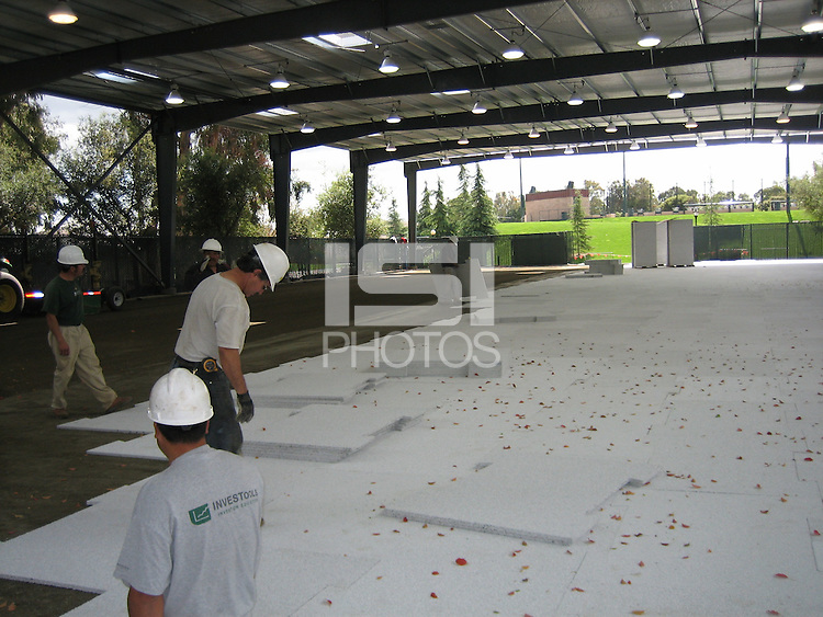 26 March 2007: Photographs of the batting cage facility construction at Sunken Diamond in Stanford, CA.