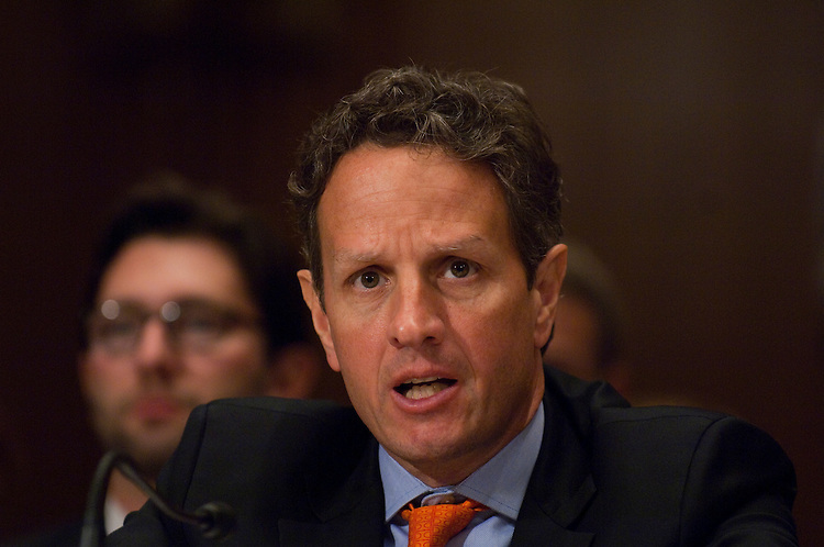 WASHINGTON, DC - June 22: Treasury Secretary Timothy F. Geithner testifies during a hearing before the Congressional Oversight Panel, which oversees the Troubled Asset Relief Program (TARP). (Photo by Scott J. Ferrell/Congressional Quarterly)