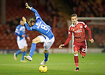 Aberdeen v St Johnstone&hellip;22.09.16.. Pittodrie..  Betfred Cup<br />Murray Davidson is fouled by James Maddison<br />Picture by Graeme Hart.<br />Copyright Perthshire Picture Agency<br />Tel: 01738 623350  Mobile: 07990 594431