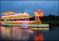 BNPS.co.uk (01202 558833)<br /> Pic: Longleat/BNPS<br /> <br /> An army of Chinese artisans have created a stunning display of Oriental colour and light in the grounds of Longleat House in Wiltshire.<br /> <br /> Using 500,000 LED bulbs stretching 20 km, 20,000 individual lanterns, 80,000 pieces of porcelain and over 18 km of silk, the winter wonderland brings in thousands of visitors to the attraction over the normally fallow winter period.<br /> <br /> Organisers are putting the finishing touches to Europe's largest display of giant Chinese illuminations taking place in Britain this winter.<br /> <br /> About half a million LED lights, stretching 20km, have been used to create the stunning displays at the Festival of Light at Longleat House in Wiltshire.<br /> <br /> After the success of last year's inaugural festival, which attracted more than 150,000 visitors over the Christmas period, a team of 55 highly-skilled Chinese craftsmen have made sure this year's festival will be bigger and better.