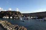 Fishing boats in the harbour at El Cotillo, Fuerteventura, Canary Islands, Spain.