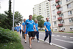 Spartak Trnava v St Johnstone...07.08.14  Europa League Qualifier 3rd Round<br /> Tommy Wright leads the players on on pre-game walkabout in Nitra<br /> Picture by Graeme Hart.<br /> Copyright Perthshire Picture Agency<br /> Tel: 01738 623350  Mobile: 07990 594431