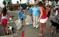 Pacific Beach Town Council Beach Clean-Up Volunteers and PB residents, Lisa and James Magill (center) collect cigarette butts on the corner of Garnet Ave & Mission Blvd, July 5th, 2008.   Volunteers and organisers of several beach clean-ups in the Pacific and Mission Beach area were stunned by the huge reduction in trash on the beaches compared to what they are used to finding each year on July 5th after beachgoers leave.  The cleanliness of the beaches left many searching the side streets and alleys for trash to collect.  Most people are attributing the drastic change to the six-month old alcohol ban on the area beaches.