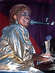 """Katie Webster, Sept 1985. San Francisco Blues Festival.Hard-hitting blues and boogie-woogie pianist who earned her reputation as the """"Swamp Boogie Queen"""" in the course of playing on well over 500 records as a session musician in the 50s and early 60s."""