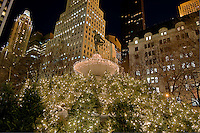 New York, New York,Pulitzer Fountain .Sculpture, Christmas Lights, Grand Army Plaza at 59th Street and Fifth Avenue, Sculptor by Karl Bitter in 1916