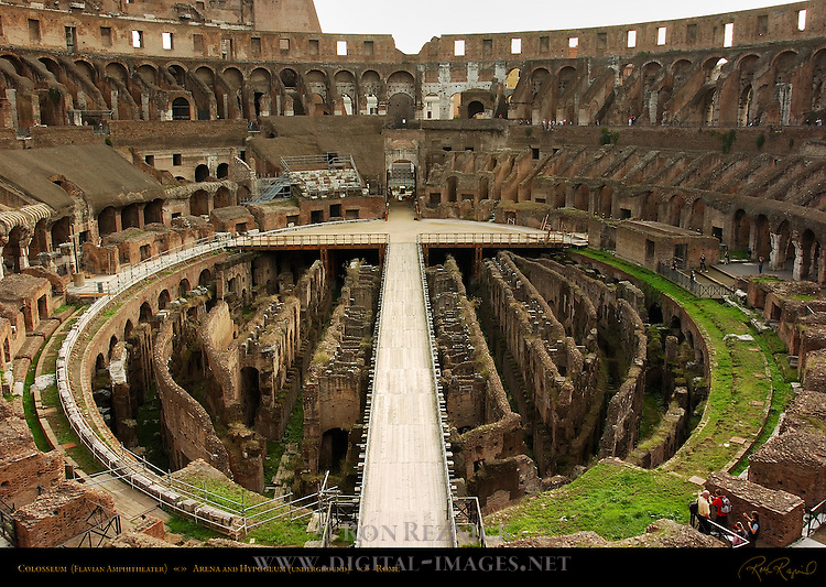 Hypogeum (underground areas) and Arena early morning Colosseum Rome