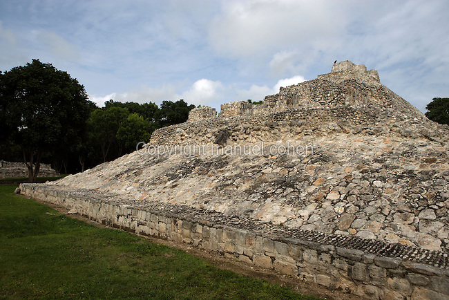 Ball Court, laid out in a north-south direction, Puuc architectural style, Late Classic Period, 600 - 900 AD, Edzna, Campeche, Mexico. Picture by Manuel Cohen