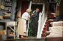 London, UK. 08.07.2013. THE LADYKILLERS, by Graham Linehan, and directed by Sean Foley, opens at the Vaudeville Theatre. Picture shows: Angela Thorne (Mrs Wilberforce) and John Gordon Sinclair (Professor Marcus). Photograph © Jane Hobson.