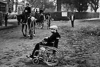 Rutherford Alford, an Anglo Indian horse owner at the Racecourse in Kolkata. He was a jockey and his lower portion is totally paralysed now after a track accident.