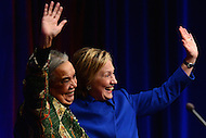 Washington, DC - November 16, 2016: Former Secretary of State and  U.S. presidential candidate Hillary Clinton and Marian Wright Edelman wave at the audience at the 'Beat the Odds Celebration' sponsored by the Children's Defense Fund at the Newseum in the District of Columbia, November 16, 2016.  (Photo by Don Baxter/Media Images International)