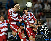 Santa Clara, California - Saturday July 18, 2012: FC Dallas' Matt Hedges &amp; Brek Shea  jumo for the ball during a game against San Jose Earthquakes at Buck Shaw Stadium, Stanford, Ca   San Jose Earthquakes defeated FC Dallas 2 - 1.
