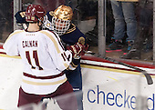 The visiting University of Notre Dame Fighting Irish defeated the Boston College Eagles 7-2 on Friday, March 14, 2014, in the first game of their Hockey East quarterfinals matchup at Kelley Rink in Conte Forum in Chestnut Hill, Massachusetts.