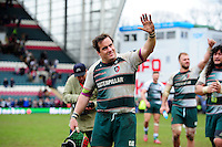Marcos Ayerza of Leicester Tigers waves to the crowd after the match. European Rugby Champions Cup quarter final, between Leicester Tigers and Stade Francais on April 10, 2016 at Welford Road in Leicester, England. Photo by: Patrick Khachfe / JMP
