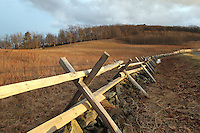 A wooden fence meanders along the road on the Blue Ridge Parkway in nelson County,  VA. Photo/Andrew Shurtleff