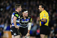 Referee Greg Garner has a word with Chris Cook and Francois Louw of Bath Rugby. Aviva Premiership match, between Bath Rugby and Saracens on April 1, 2016 at the Recreation Ground in Bath, England. Photo by: Patrick Khachfe / Onside Images