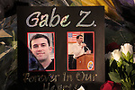 A memorial was created at lUniversity Medical Center, Tucson, Arizona, USA, where Arizona congresswoman, Gabrielle Giffords, was recovering after sustaining a gunshot wound to the head while she and her staff were meeting with constituants.  Six people died in the attack, including Giffords staffer, Gabe Zimmerman, who is honored at the memorial.