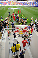 Players enter the field for warmups prior to a friendly between Santos FC and the New York Red Bulls at Red Bull Arena in Harrison, NJ, on March 20, 2010. The Red Bulls defeated Santos FC 3-1.
