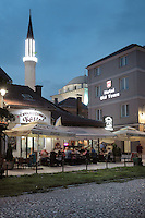 Hotel Old Town at night and behind, the minaret of the 16th century Gazi Husrev-beg Mosque, Sarajevo, Bosnia and Herzegovina. The city was founded by the Ottomans in 1461. Picture by Manuel Cohen