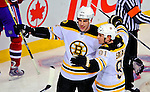 22 November 2008: Boston Bruins' left wing forward Milan Lucic celebrates scoring a goal in the second period against the Montreal Canadiens at the Bell Centre in Montreal, Quebec, Canada.  After a 2-2 regulation tie and a non-scoring 5-minute overtime period, the Boston Bruins scored the lone shootout goal thus defeating the Canadiens 3-2. The Canadiens, celebrating their 100th season, honored former Montreal goaltender Patrick Roy, and retired his jersey (Number 33) during pre-game ceremonies. ***** Editorial Use Only *****..Mandatory Photo Credit: Ed Wolfstein Photo *** Editorial Sales through Icon Sports Media *** www.iconsportsmedia.com