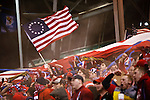 US fans celebrate the first goal in the US Men's National Team vs. Mexico at Crew Stadium in Columbus, Ohio in World Cup Qualifier. USA 2 - Mexico 0
