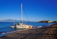 Early morning sail at Kaanapali beach, Maui, with view of Molokai